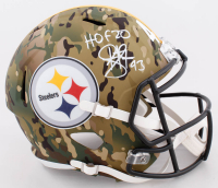 "Troy Polamalu Signed Steelers Camo Alternate Speed Helmet Inscribed ""HOF 20"" (Beckett COA) at PristineAuction.com"