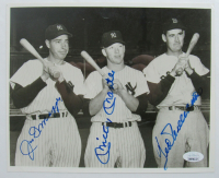 Joe DiMaggio, Ted Williams, & Mickey Mantle Signed 8x10 Photo (JSA LOA) at PristineAuction.com