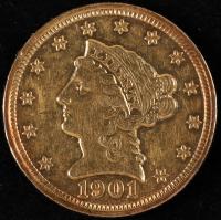 1901 $2.50 Liberty Head Quarter Eagle Gold Coin at PristineAuction.com