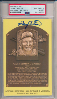 Gary Carter Signed Gold Hall of Fame Plaque Postcard (PSA Encapsulated) at PristineAuction.com