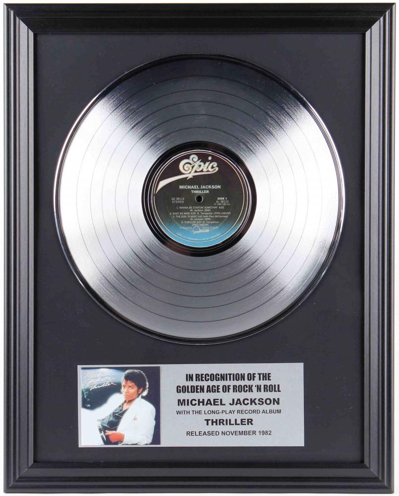 "Original Vintage Michael Jackson's ""Thriller"" 16x20 Custom Framed Vinyl Record Display at PristineAuction.com"