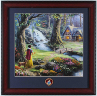 "Thomas Kinkade Walt Disney's ""Snow White and the Seven Dwarfs"" 16x16 Custom Framed Print Display With Snow White Pin at PristineAuction.com"