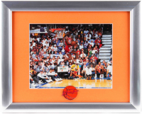 Michael Jordan Bulls 13x16 Custom Framed Photo Display with Jordan Signature Upper Deck Lapel Pin at PristineAuction.com