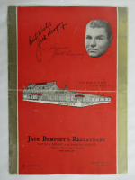 "Jack Dempsey Signed ""Jack Dempsey's Restaurant"" Menu Inscribed ""Regards"" (JSA ALOA) at PristineAuction.com"
