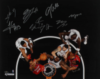 2013-14 Nets 16x20 Photo Team-Signed by (7) with Jorge Gutierrez, Andrei Kirilenko, Mason Plumlee, Brook Lopez (Steiner Hologram) at PristineAuction.com