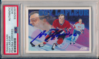 Guy Lafleur Signed 1991-92 Score Canadian English #291 Speed and Grace (PSA Encapsulated) at PristineAuction.com