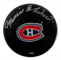Maurice Richard Signed Canadiens Logo Hockey Puck (PSA COA) at PristineAuction.com