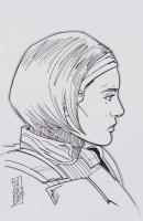 "Tom Hodges - Bo-Katan Kryze - ""Star Wars: The Mandalorian"" - Signed ORIGINAL 5.5"" x 8.5"" Drawing on Paper (1/1) at PristineAuction.com"