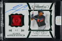 Ronald Acuna Jr. 2020 Panini Flawless Milestones Emerald #21 at PristineAuction.com