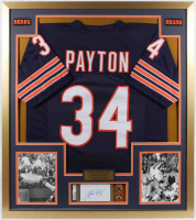 Walter Payton Signed Bears 32x36 Custom Framed Index Card Display with Jersey & (2) Tribute Pins (PSA Encapsulated) at PristineAuction.com
