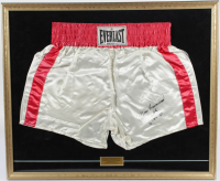 "Muhammad Ali Signed 25x30 Custom Framed Vintage Muhammad Ali Style Boxing Trunks Inscribed ""6-4-88"" (JSA LOA) at PristineAuction.com"