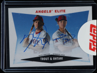 Mike Trout / Shohei Ohtani 2020 Topps Archives '60 Topps Combo Cards Dual Autographs Blue #60CCATO at PristineAuction.com