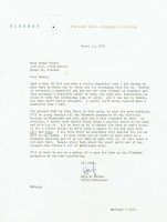 Hugh Hefner Signed 1958 Letter to Bunny Yeager (PSA LOA) at PristineAuction.com