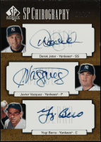 2004 SP Authentic Chirography Triple #JVB Derek Jeter / Javier Vazquez / Yogi Berra at PristineAuction.com