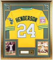 Rickey Henderson Signed Athletics 33x37 Custom Framed Cut Display with 1989 AL Champions Pin (PSA COA) at PristineAuction.com