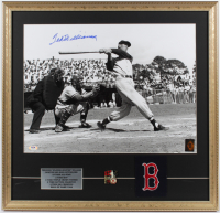 Ted Williams Signed Red Sox 23x24 Custom Framed Photo Display with Red Sox 521 Home Run Lapel Pin & Red Sox Patch (PSA LOA & Williams Hologram) at PristineAuction.com