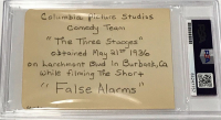 "Moe Howard, Larry Fine & Curly Howard Signed ""The Three Stooges"" Cut (PSA Encapsulated & PSA LOA) at PristineAuction.com"