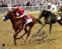 "Mike Smith Signed 8x10 Photo with Justify Inscribed ""2018 Triple Crown"" (Steiner COA) at PristineAuction.com"
