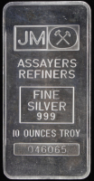 10 Troy Ounce JM .999 Fine Silver Bullion Bar at PristineAuction.com