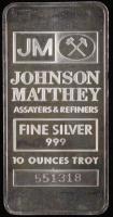 10 Troy Ounce Johnson Matthey .999 Fine Silver Bullion Bar at PristineAuction.com