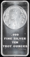 10 Troy Ounce Indian Head .999 Fine Silver Bullion Bar at PristineAuction.com
