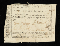 1761 North Carolina 30s. Thirty-Shillings Colonial Currency Note at PristineAuction.com