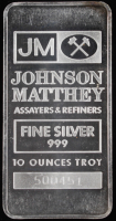 10 Troy Ounce Johnson Matthey .999 Fine Silver Bullion Bar at PristineAuction.com
