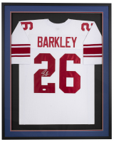 Saquon Barkley Signed 31x36 Custom Framed Jersey (JSA COA) at PristineAuction.com