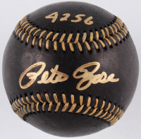"Pete Rose Signed OML Black Leather Baseball Inscribed ""4256"" (JSA COA) at PristineAuction.com"