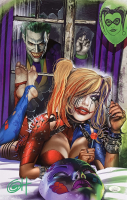 "Greg Horn Signed ""Harley Quinn & Knocking Joker"" 11x17 Photo (JSA COA) at PristineAuction.com"