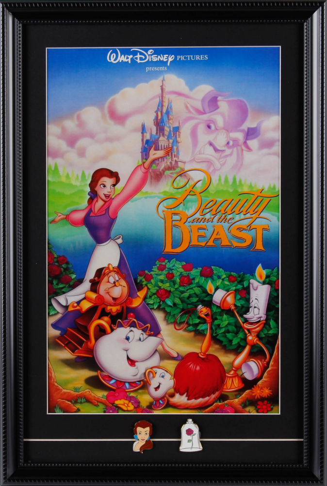 """""""Beauty & The Beast"""" 15x26 Custom Framed Movie Poster With (2) Pins at PristineAuction.com"""