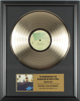 """The Eagles 16x20 Custom Framed Gold Plated """"Hotel California"""" Record Album Award Display at PristineAuction.com"""