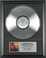 """David Bowie 16x20 Custom Framed Silver Plated """"Lets Dance"""" Record Album Award Display at PristineAuction.com"""