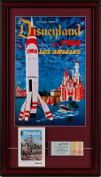 "Disneyland Frontierland ""Fly TWA Los Angeles"" 15x26 Custom Framed Display with Vintage 1960's Guide & Vintage Ticket Book at PristineAuction.com"