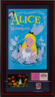 """Alice in Wonderland"" 15x26.5 Custom Framed Print Display with Vintage Disney Ticket Book, Vintage Souvenir Postcard & Ride Lapel Pin at PristineAuction.com"