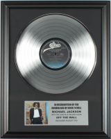 """Michael Jackson 16x20 Custom Framed Silver Plated """"Off The Wall"""" Record Album Award Display at PristineAuction.com"""