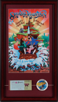 "Disneyland ""Splash Mountain"" 15x26 Custom Framed Print Display with Vintage Ticket Booklet & Pre-Opening Splash Mountain Employee Only Lapel Pin at PristineAuction.com"