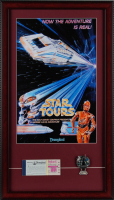 "Disneyland ""Star Tours"" 15x26 Custom Framed Print Display with Star Tours Ride Pin & Vintage Ticket Book at PristineAuction.com"