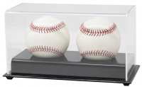 Deluxe Acrylic Full-Size Double Baseball Display Case Black Base at PristineAuction.com