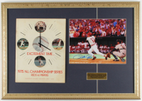 Pete Rose Signed Reds 17x24 Custom Framed Photo Display with 1975 NL Championship Series Program (Rose Hologram & JSA COA) at PristineAuction.com