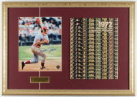 Pete Rose Signed Reds 17x24 Custom Framed Photo Display with 1972 Vintage Reds Yearbook (Rose Hologram & JSA COA) at PristineAuction.com