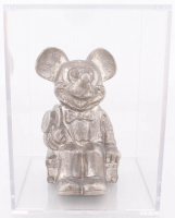 Vintage Mickey Mouse Pewter Metal Piggy Bank with Display Case at PristineAuction.com