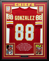 Tony Gonzalez Signed 34.5x42.5 Custom Framed Career Highlight Stat Jersey (Beckett COA) at PristineAuction.com