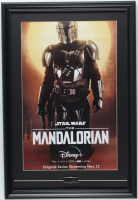 """The Mandalorian"" 15x22 Custom Framed Poster Display with Official Mandalorian Lapel Pin at PristineAuction.com"