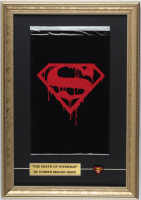 "1992 ""Superman"" 12x17 Custom Framed Issue #75 DC Comic Book Black Bag Collector's Set with DC Superman Metal Lapel Pin at PristineAuction.com"
