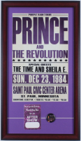 Prince Purple Rain Tour 15x26 Custom Framed Print Display with Vintage Backstage Pass & (1) Concert Lapel Pin at PristineAuction.com
