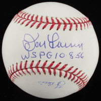 "Don Larsen & Yogi Berra Signed Yankees OML World Series Perfect Game Logo Baseball Inscribed ""WSPG 10-8-56"" (JSA COA) at PristineAuction.com"