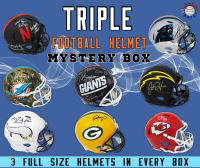 Schwartz Sports Football Superstar Signed TRIPLE Full-Size Football Helmet Mystery Box – Series 2 (Limited to 75) (3 FULL-SIZE HELMETS IN EVERY BOX!!!) at PristineAuction.com