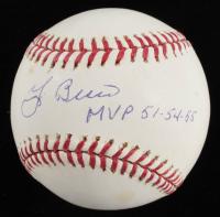 "Yogi Berra & Phil Rizzuto Signed Yankees OML 100th Anniversary Logo Baseball Inscribed ""MVP 51-54-55"" & ""MVP 1950"" (JSA COA) at PristineAuction.com"