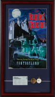 "Disneyland ""Haunted Mansion"" 15x26 Custom Framed Print Display with Original Haunted Mansion Lapel Pin & Disneyland Tokyo Ticket at PristineAuction.com"
